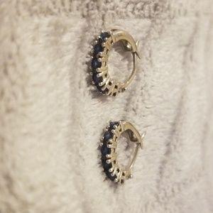 10kt White Gold Earrings Blue Sapphire